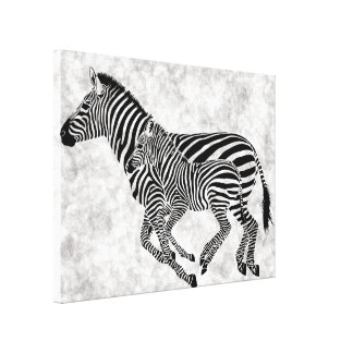 Abstract  Mother and Child Zebras Canvas Print