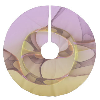 Abstract Motions, Modern Light Pink Yellow Fractal Brushed Polyester Tree Skirt
