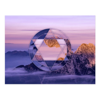 Abstract mountain landscape postcard