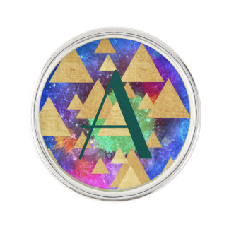 abstract multi color art gold triangles fun chic lapel pin