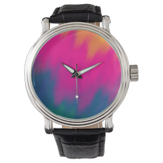 Abstract Multi Color Background Wrist Watch