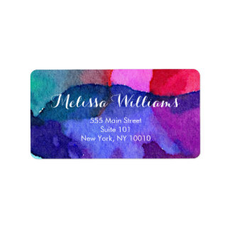 Abstract Multi-Colored Watercolors Makeup Artist Address Label