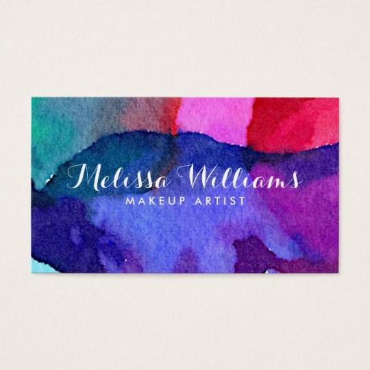 Abstract Multi-Coloured Watercolors Makeup Artist Business Card