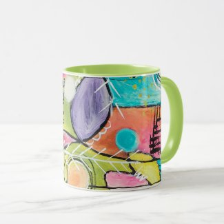 Abstract Multicolor Artistic Red Blue Green Pink Mug
