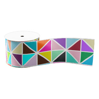 Abstract Multicolor kaleidoscope Diamond Pattern Grosgrain Ribbon