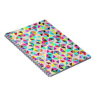Abstract Multicolor kaleidoscope Diamond Pattern Spiral Notebooks