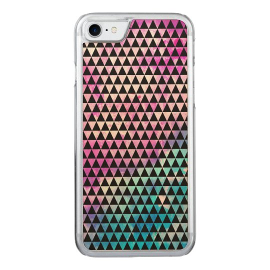 Abstract multicolor nebula triangles pattern carved iPhone 8/7 case