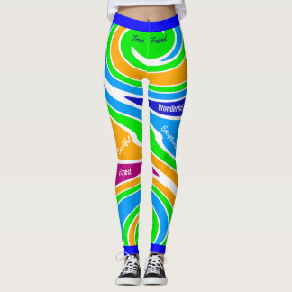 Abstract Multicolored Supportive Friendship Leggings