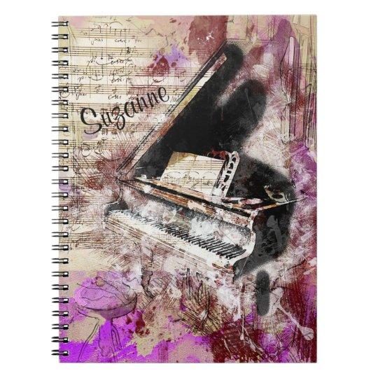 Abstract Music Piano Theme Journal Purple