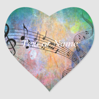 abstract music heart sticker