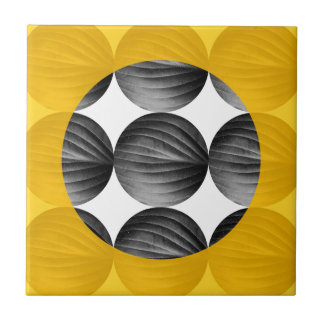 Abstract Mustard Yellow and Grey Small Square Tile