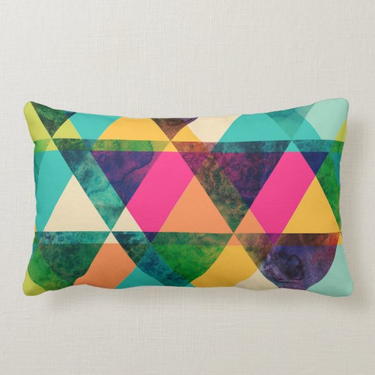 Abstract Neon Geometric Print Triangles Lumbar Cushion