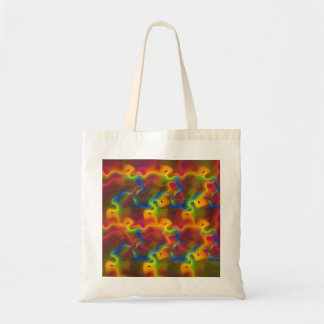 Abstract Neon Green Blue Purple Orange Fractal Canvas Bags