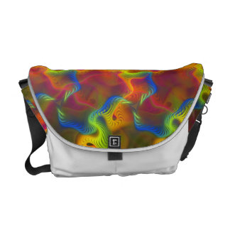 Abstract Neon Green Blue Purple Orange Fractal Messenger Bags
