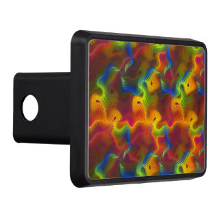 Abstract Neon Green Blue Purple Orange Fractal Trailer Hitch Cover