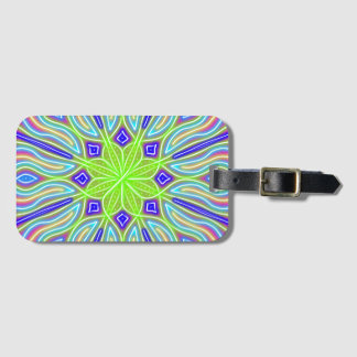 Abstract Neon Green Flower Luggage Tag