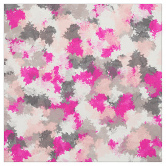 Abstract Neon Pink Gray Modern Watercolor Strokes Fabric