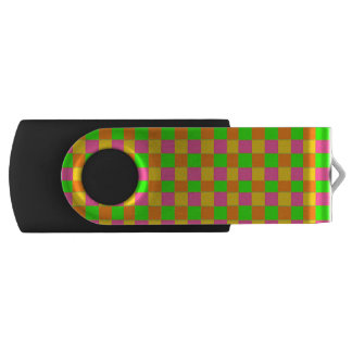 Abstract neon pink green checkered pattern USB flash drive