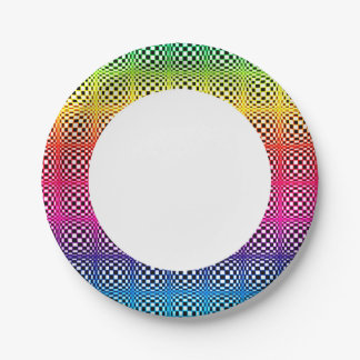 Abstract Neon Rainbow Squares Paper Plate