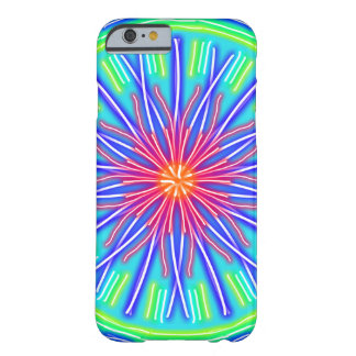 Abstract Neon Red & Blue Flower Barely There iPhone 6 Case