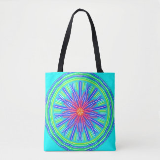 Abstract Neon Red & Blue Flower Tote Bag