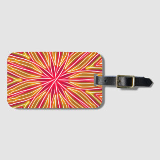 Abstract Neon Red & Orange Flower Luggage Tag