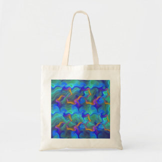 Abstract Neon Teal Blue Purple Fractal Pattern Canvas Bags