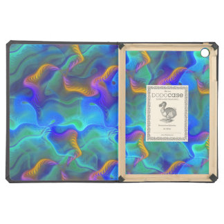 Abstract Neon Teal Blue Purple Fractal Pattern iPad Air Cover