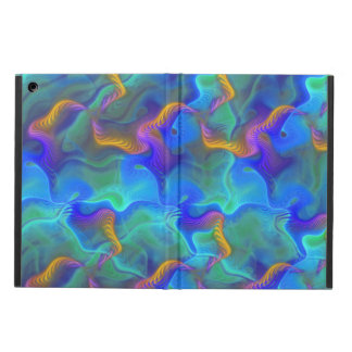 Abstract Neon Teal Blue Purple Fractal Pattern iPad Air Case