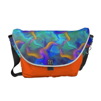 Abstract Neon Teal Blue Purple Fractal Pattern Messenger Bag