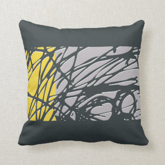 Abstract Nest design in gray and yellow Cushion