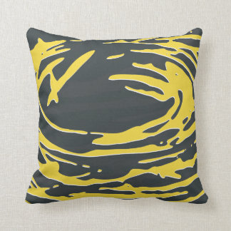 Abstract Nest in Gray and Yellow Cushion