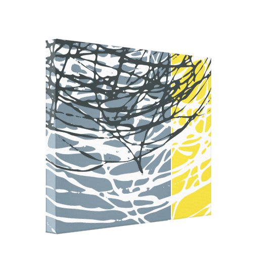 Abstract Nest in Grey and Yellow Canvas Print