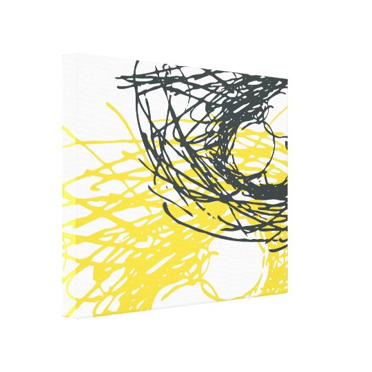 Abstract Nest in White, Grey and Yellow Canvas
