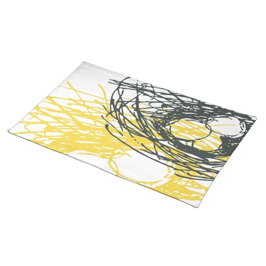 Abstract Nest Placemat in grey and yellow