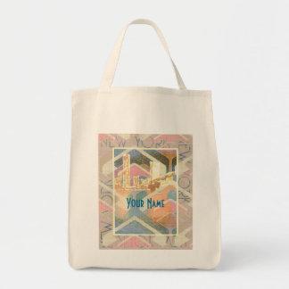 Abstract New York City Pastel Manhattan Bridge Bag