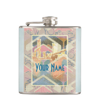 Abstract New York City Pastel Manhattan Bridge Hip Flask