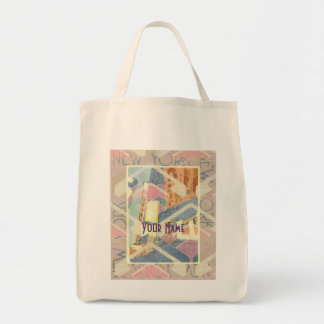 Abstract New York City Pastel Tones Times Square Canvas Bags