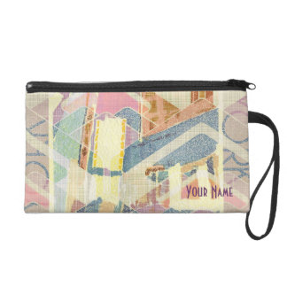 Abstract New York City Pastel Tones Times Square Wristlet Clutches