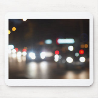 Abstract night scene in the city on the road mouse pad