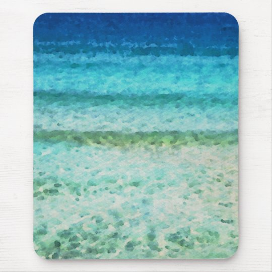 Abstract Ocean Blue Watercolor Pattern Mouse Mat