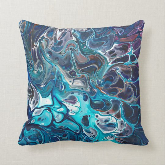 Abstract ocean - paint pouring in blue cushion