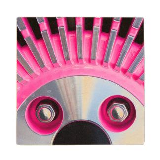 Abstract Of A Pink Hub Cap Wood Coaster
