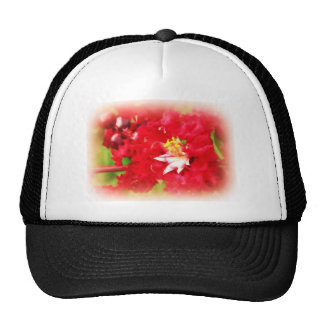 Abstract of a Red Myrtle Bush Mesh Hats