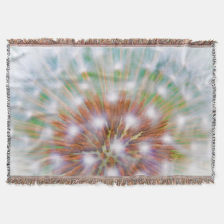 Abstract of dandelion seed head throw blanket