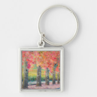 Abstract of Napa Valley trees Silver-Colored Square Key Ring