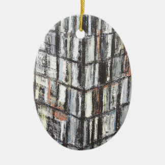 Abstract Office Building (abstract architecture) Ceramic Oval Decoration
