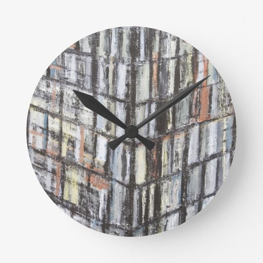 Abstract Office Building (abstract architecture) Round Wall Clock