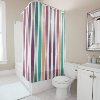 Abstract oil brush strokes in marsala and teal shower curtain