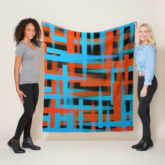 Abstract oil brush strokes in orange and blue fleece blanket